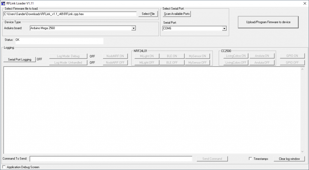 "The RFLink support application  ""RFLinkLoader.exe"""
