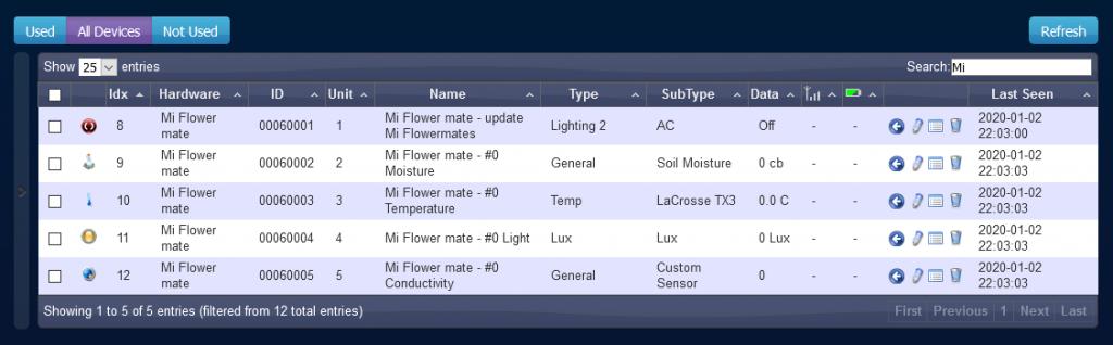 Mi Flower Mate device found in Domoticz