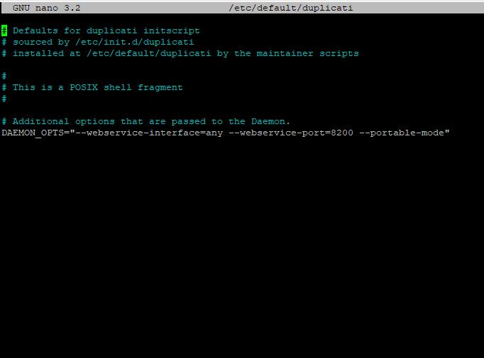 The duplicati initscript